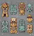 vintage colored aztec masks set vector image