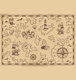 vintage monochrome old pirate treasure map vector image