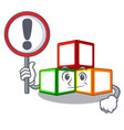 with sign bright toy block bricks on cartoon vector image