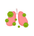 sick unhealthy lungs with disease angry vector image