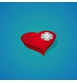 Gift box - Heart with ribbon bow vector image