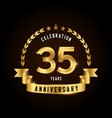 35 years anniversary celebration logotype golden vector image vector image