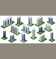 3d modern city buildings isometric city modules vector image