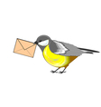 A cute titmouse with a letter in its beak vector image vector image