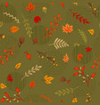 abstract seamless autumn pattern leaves branches vector image vector image
