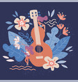acoustic guitar in flowers musical instruments vector image