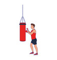 avatar man training on a punching bag icon vector image vector image