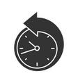 back arrow around clock glyph icon