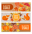 banners of autumn sales autumn leaves squirrel vector image vector image