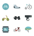 Bicycle parts icons set flat style vector image vector image