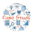 blue round case study concept vector image