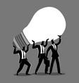 businessmen lifting up a light bulb together vector image