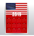 calendar 2019 united states of america flag vector image