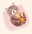 cat and kitten hug and kiss vector image