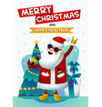 cool rock star santa singing santa claus with vector image vector image
