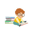 cute smart little boy character wearing glasses vector image