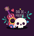 day dead catrina and guitar flowers vector image vector image