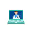 flat adult male doctor in laptop vector image vector image