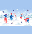flat banner winter fun modeling snowman slide vector image