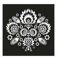 Folk Pattern With Flowers Black vector image