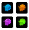 glowing neon shopping cart with globe icon vector image