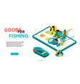 goods for fishing - modern colorful isometric web vector image