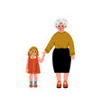 granny and her granddaughter standing and holding vector image vector image