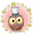 greeting card owl with stars vector image vector image