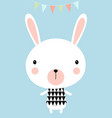 greeting card with little rabbit vector image vector image
