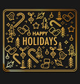happy holidays greeting card with gold christmas vector image vector image