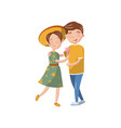 happy young couple in love hugging cartoon vector image