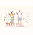 healthy active lifestyle training at home concept vector image vector image
