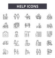 help line icons signs set outline vector image vector image