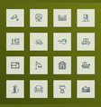 house icons line style set with circular staircase vector image