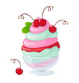 isolated cherry frozen yogurt or ice cream on vector image vector image