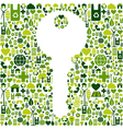 Key with green icons background vector image