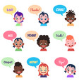 kids avatars international people with speech vector image