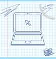 laptop with cursor line sketch icon isolated on vector image vector image