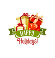 merry christmas gifts holiday greeting card vector image vector image