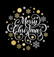 merry christmas greeting card golden snowflake vector image