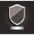 metal dot perforated texture with shield and vector image vector image