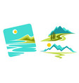 mountains landscape and seascape or ocean coast vector image