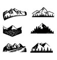 mountains set black and white vector image