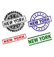 scratched textured new york seal stamps vector image