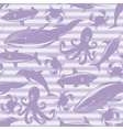seamless pattern with sea animals on violet vector image
