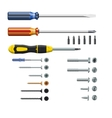 Set of three different screwdrivers bits and vector image