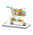 shopping cart - trolley on phone isolated on vector image