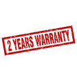 square grunge red 2 years warranty stamp vector image vector image