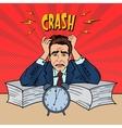 Stressed Businessman Sunk Up in Paperwork Pop Art vector image