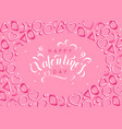 valentines day background with pink hearts and vector image vector image